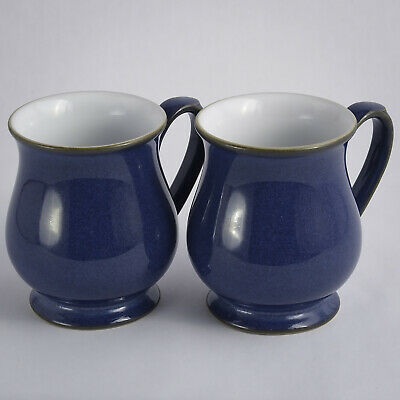 """Denby Imperial Blue Two Craftsman Mugs 4.25"""" - Excellent"""