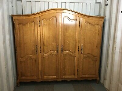 Wonderful Armoire Wardrobe 4 door Vintage French solid oak Louis XV Style