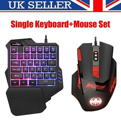 USB Keyboard and Mouse Set Anti-slip Wheel For PC PS4 Xbox One 360 Gaming Black