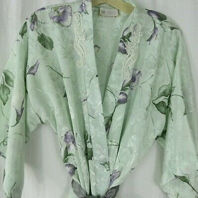 Vintage California Dynasty Short Kimono Robe Size M Belted Floral Polyester USA