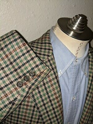 46L J.PRESS Orange Green Brown Jumbo Tooth Check Tweed Wool Jacket Coat Blazer