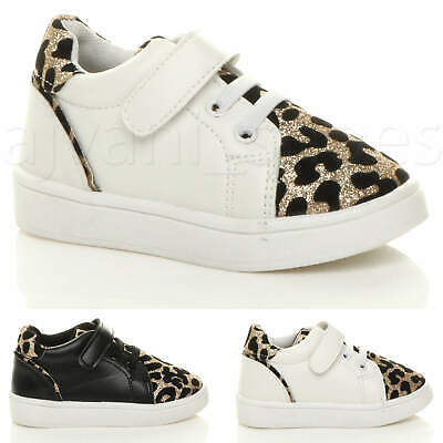 Girls Kids Childrens Infant Leopard Print Glitter Hi Top Trainers Shoes Size