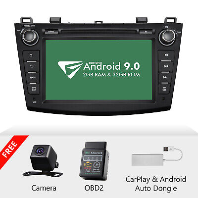 "CAM+OBD+CarPlay+Eonon For Mazda3 10-13 Android 9.0 8"" Car Stereo GPS Navi DVD BT"