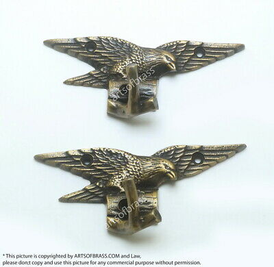 """1.96"""" 2 pcs Vintage Freedom EAGLE Falcon Solid Brass Strong Wall Mount HOOK"""
