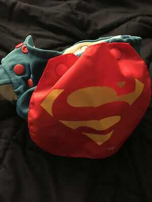 Bumkins Cape Superman Blue Red Cloth Diaper Superhero DC Comics AIO