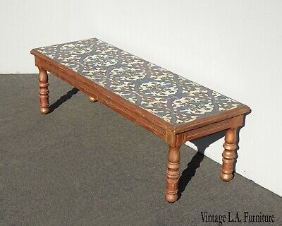 Vintage Monterey California Mission Style Tile Coffee Table Blue & Bronze