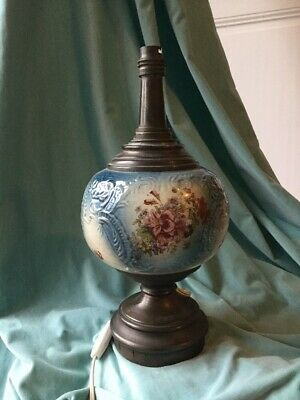 Antique French Electrified Oil Lamp Ceramic Victorian Table Night Stand Blue