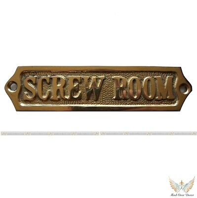 Solid Brass Screw Room Captain Ship Tools Equipment Room Wall Plaque Decor Tag
