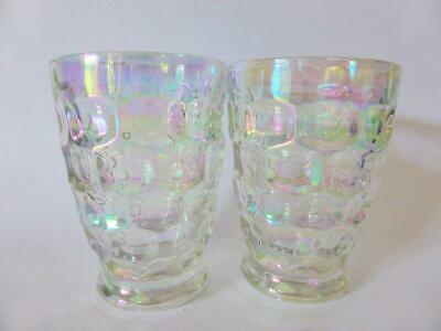 Vintage Federal Glass Thumb Print Iridescent Drinking Glasses, Tumblers, 1960's