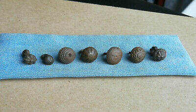 Ancient Viking Lot Of 7 Tin And Bronze Buttons With Rare Ornament