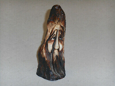 Vintage Whimsical Face Whittled Carved Piece Wood - Plastic Lqqk!