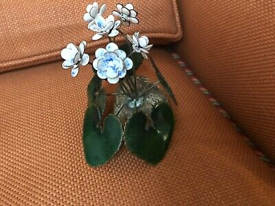 MID-CENTURY MODERN COPPER ENAMEL FLOWERS On base EXCELLENT