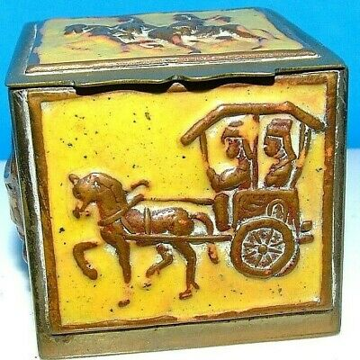 Vintage Antique Early 20 Century ~STAMP BOX~ China  Enamel Brass Desk Accessory