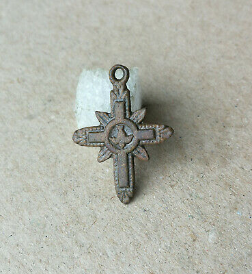 "Antique Ancient Catholic Bronze Cross "" Dove And Two Loving Hearts "" Very Rare"