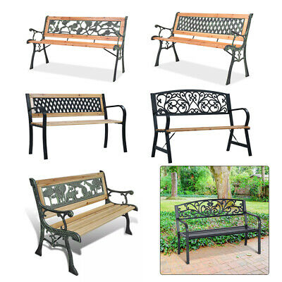 Wooden/Metal 3 Seater Garden Patio Bench Seat Outdoor Park Seater Furniture