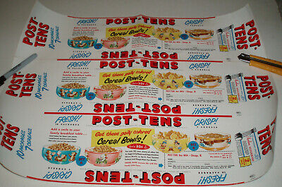 1950's Post Cereal POST-TENS Uncut Sheet of Cereal Box tray wraps w/ F&F Bowl