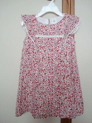 Baby Gap Toddler Girls Kids 4T Flowers Floral Ruffle Dress Sleeveless Red White