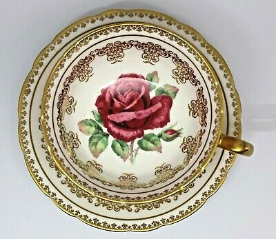 Vintage Paragon Cabbage Rose Gold Gilt Teacup & Saucer Fine Bone China-Roses