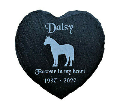 Personalised Engraved Slate Heart Pet Memorial Grave Marker Plaque for a Horse