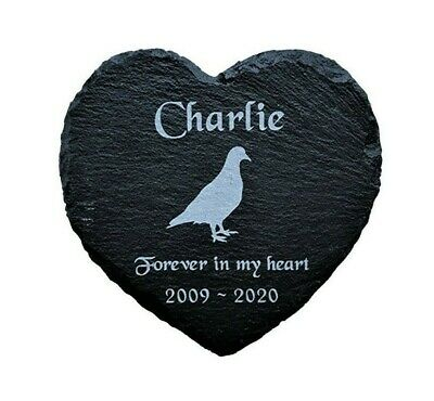Personalised Engraved Heart Pet Memorial Grave Marker Plaque for a Bird Pigeon