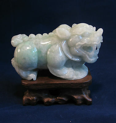 "Large Fine natural light green grade A  jade carved ""PI Xiu"" statue(with stand)"