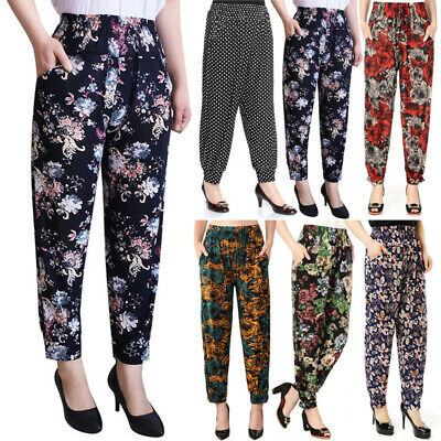 Ladies Casual Baggy Trousers Summer Beach Fitness Yoga Pants High Waist Bottoms