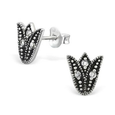 925 Sterling Silver Patterned Tulip with Crystal Cubic Zirconia Stud Earrings