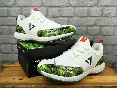 Payntr Ms Dhoni By Seven Spike White And Green Camo Cricket Spike Mens Shoe