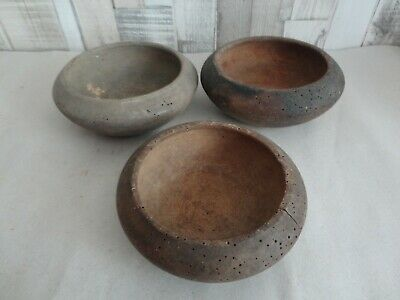 Old Antique Primitive Wooden Wood Plate Meal Bowl Dish Farm Rustic  Lot Of  3