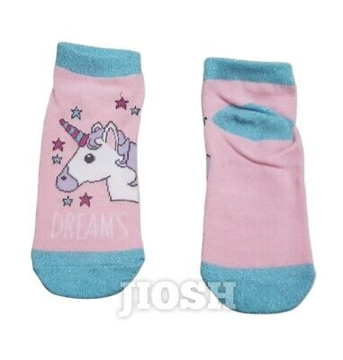 Unicorn Kids Girls Pink Novelty  Shoe Liners Ankle Trainer Socks 3-6 Years