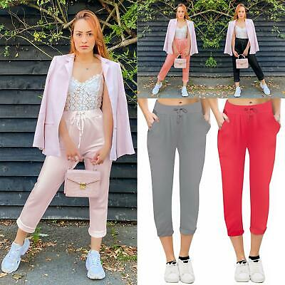 Womens Plain Cotton Bottoms Jogging Jogger Active Gym Tracksuits Trousers Paints