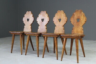 Set 4 Arts & Crafts Elm Kitchen Dining Chairs