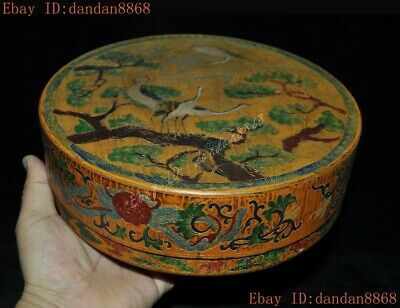 Chinese dynasty lacquerware wood carved flower pine Crane bird Storage box boxes