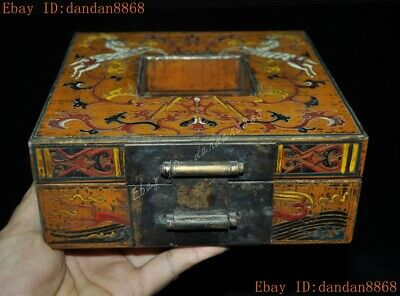Chinese dynasty lacquerware wood carved animal deers Sika deer Storage box boxes