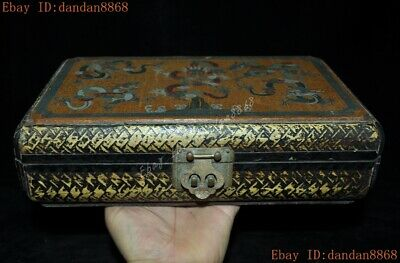 Old China dynasty lacquerware wood carved animal Dragon statue Storage box boxes