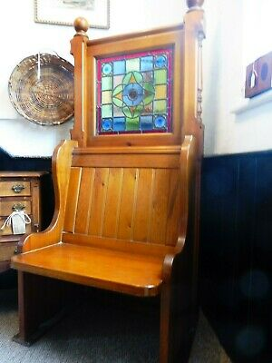 Lovely High Back Pine Church Pew with Stained Glass Panel Length 2.5ft