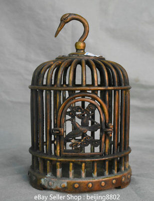 "9.6"" Rare Old Chinese Bronze Copper Dynasty birdcage bird cage Wall Hang Statue"