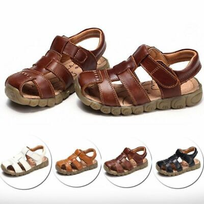 SOFTLY ASH BOYS CLARKS CLOSED TOE LEATHER CASUAL BEACH FIRST SUMMER SANDALS