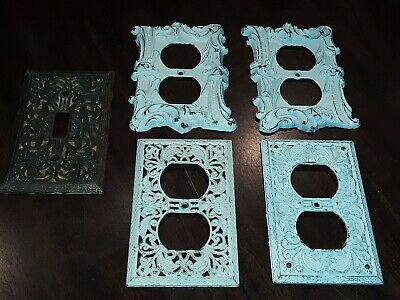 Lot Of 5 Cast Metal Outlet Switch Covers