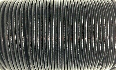 2.5mm Black Genuine Leather Cord Thong String Lace 100m Jewellery Craft
