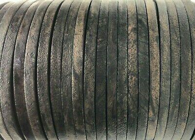 Flat 4mm Antique Black Real Leather Cord Thong String Lace 50m Jewellery Craft