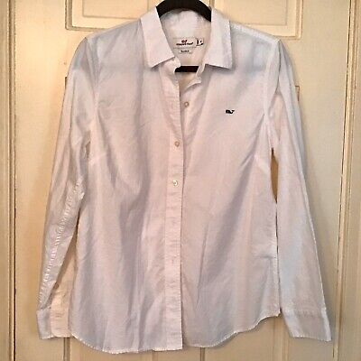 🐳 Vineyard Vines 🐳 Classic White Summer Pin-Point Oxford Shirt Top Size 10
