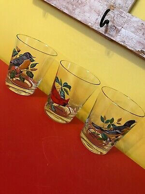 Vtg Lowball Glassware 12 Oz. Painted Birds (3) Cocktail Drinking Glasses