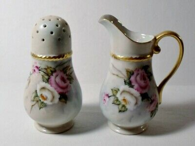 Vintage Hand Painted MUFFINEER/SUGAR SHAKER & CREAMER BERRY SET Signed ROSES