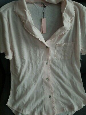 Victorias Secret Sleep Shirt Top Only Short Sleeve Soft Button Up NWT XS