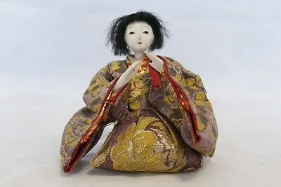 Antique/Vintage Silk Embroidered Japanese Sitting Lady Hina Doll No.2