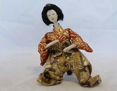Antique/Vintage Silk Embroidered Japanese Sitting Lady Hina Doll No.3