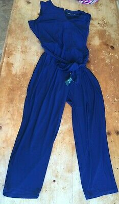NWT Lauren Ralph Lauren Womens Blue Wide Leg Jersey Jumpsuit Plus 3X $165 B21