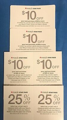 6 Macy's Coupons- 4 Coupons $10 Off $30 & 2 - 25% Off Exp. 5/10/20