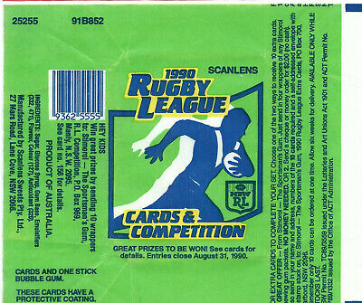 Scanlens - Rugby League Footy NRL - Card Wrapper 1990 - Rare